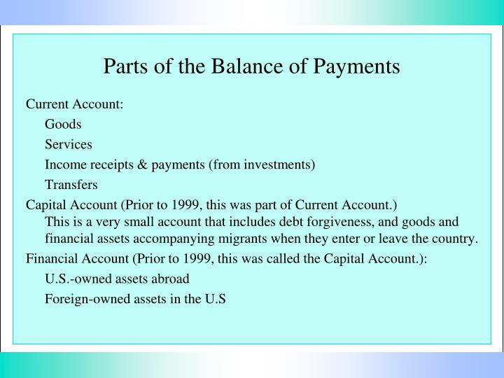 the balance of payments essay We will write a custom essay sample on balance of payments specifically for you for only $1638 $139/page the capital and financial account section of the balance of payments is a summary of all capital transfers and international transactions involving financial assets and liabilities.