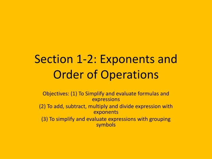 section 1 2 exponents and order of operations n.