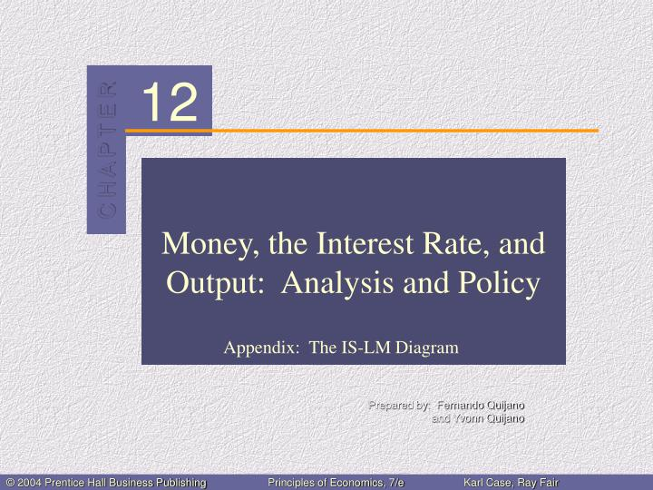 money the interest rate and output analysis and policy n.