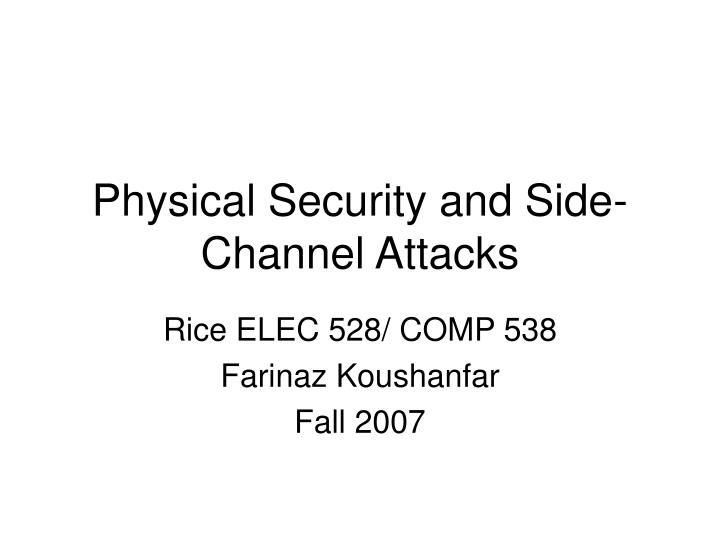 physical security and side channel attacks n.