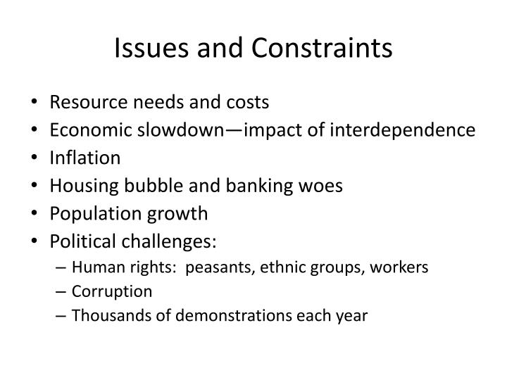 Issues and Constraints