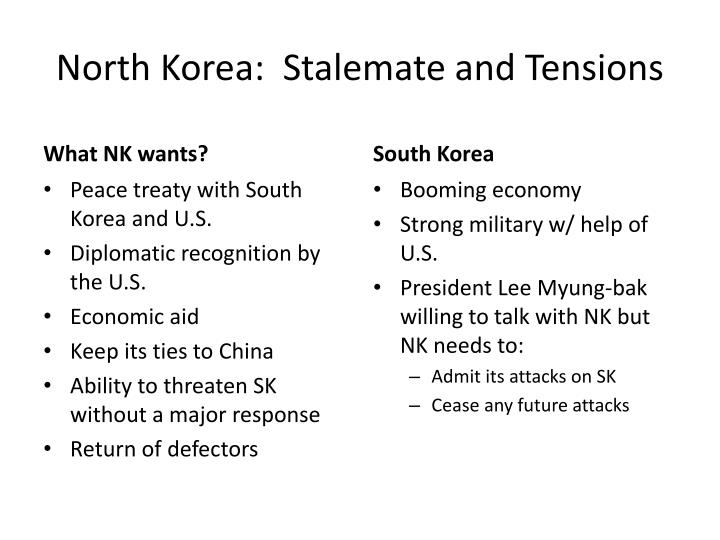 North Korea:  Stalemate and Tensions