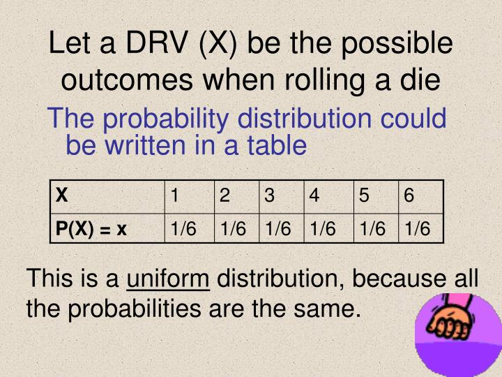 Let a DRV (X) be the possible outcomes when rolling a die
