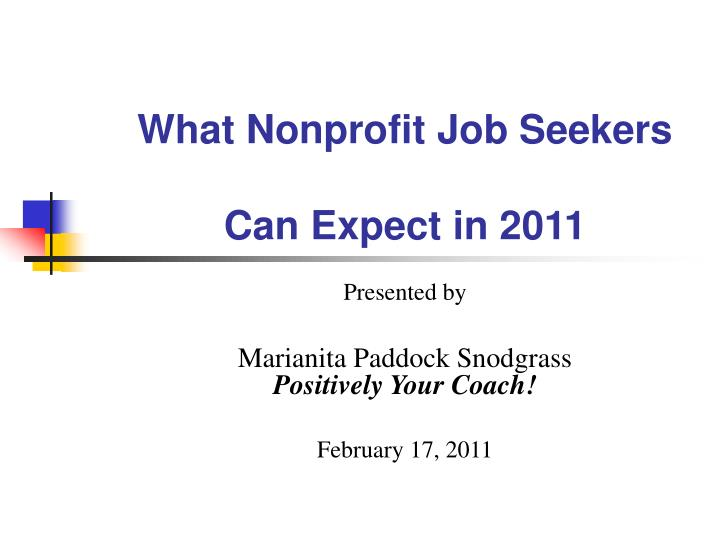 what nonprofit job seekers can expect in 2011 n.