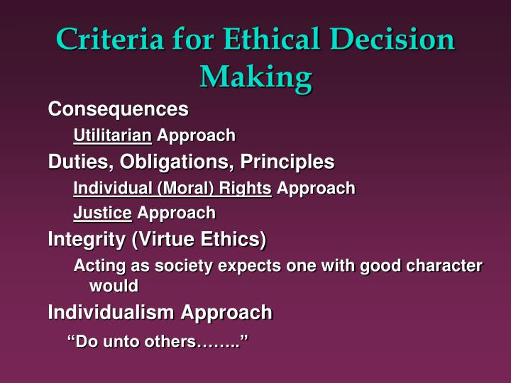 principles of individual decision making The principles of right and wrong that guide an individual in making decisions expenses.