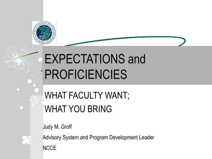 expectations and proficiencies n.
