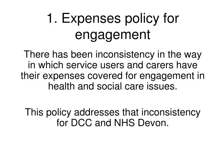 1 expenses policy for engagement n.