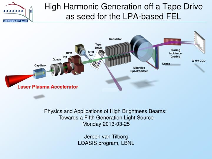 high harmonic generation off a tape drive as seed for the lpa based fel n.