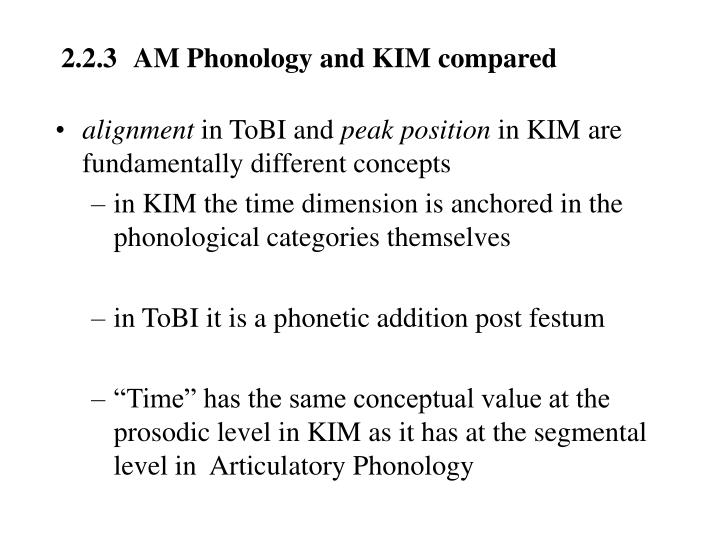 2.2.3	AM Phonology and KIM compared