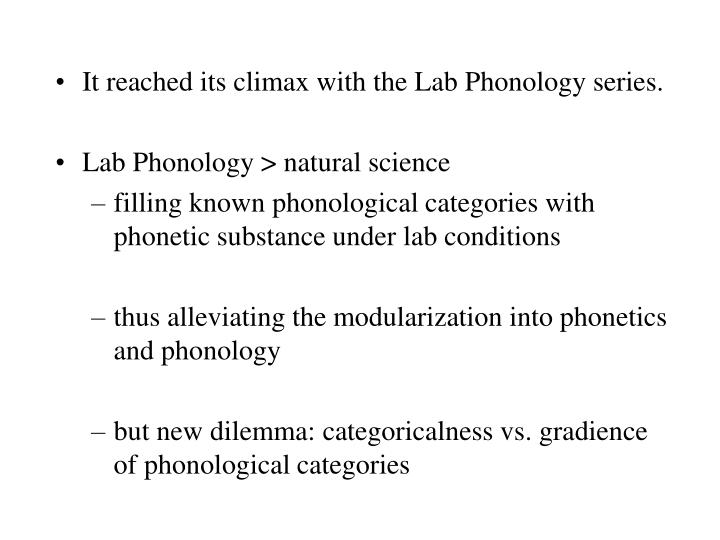 It reached its climax with the Lab Phonology series.