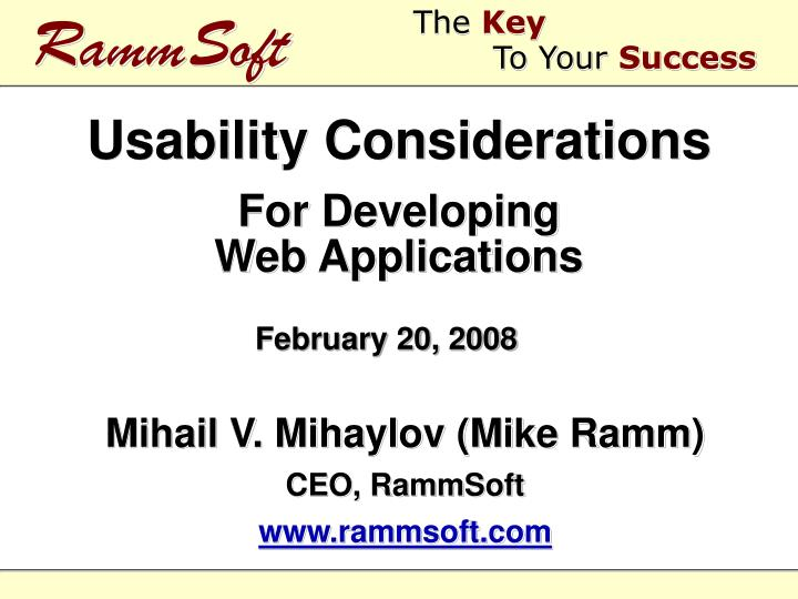 usability considerations for developing web applications n.