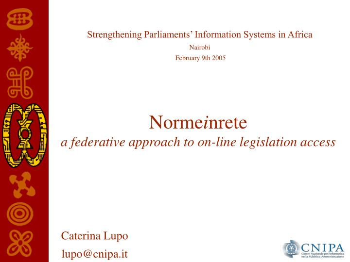 norme i nrete a federative approach to on line legislation access n.