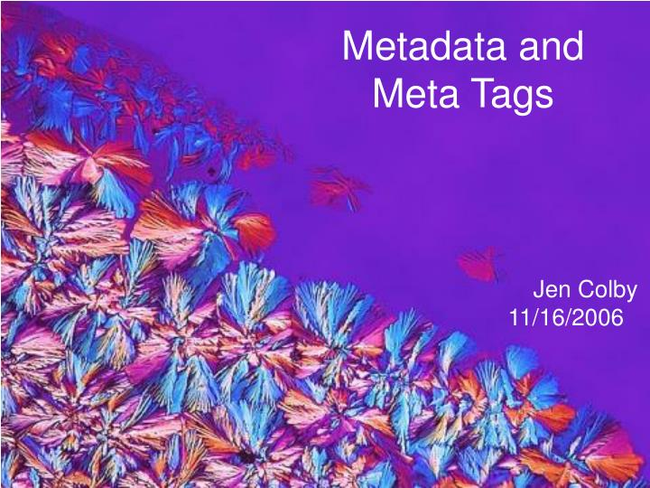 metadata and meta tags n.