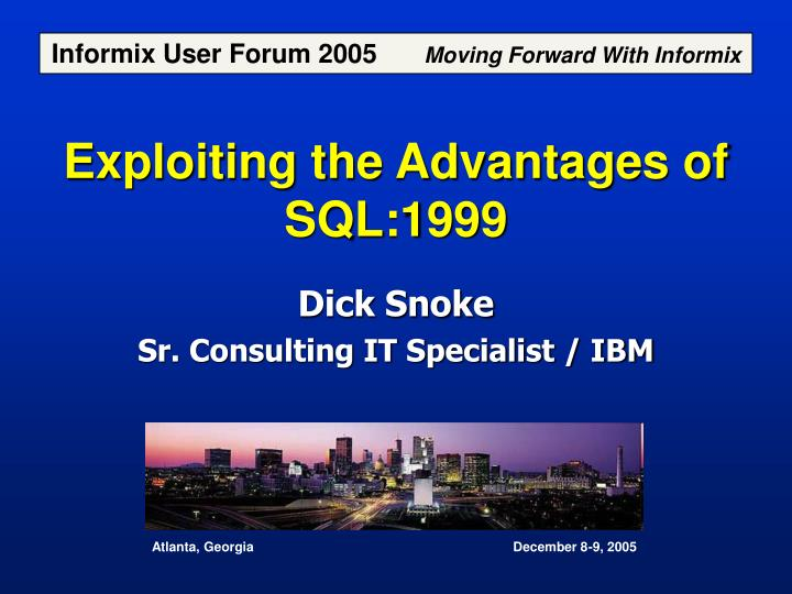 exploiting the advantages of sql 1999 n.