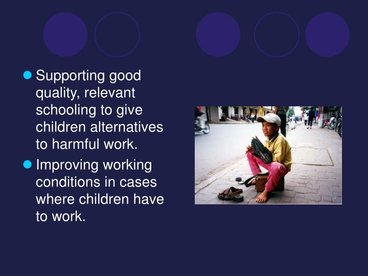 Supporting good quality, relevant schooling to give children alternatives to harmful work.