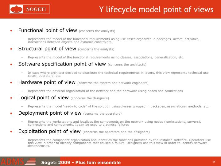Y lifecycle model point of views