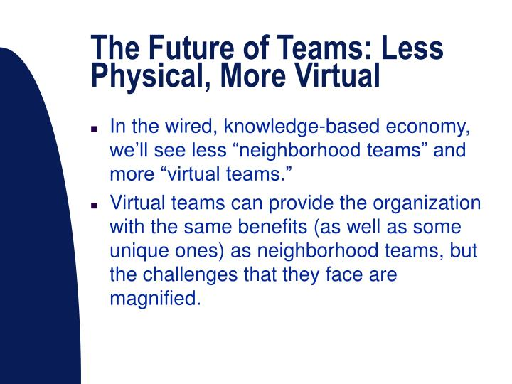 The Future of Teams: Less Physical, More Virtual