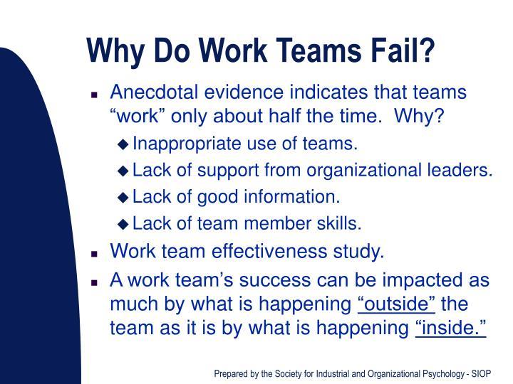 Why Do Work Teams Fail?