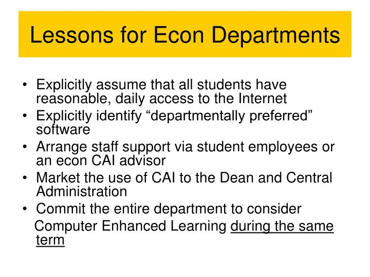 Lessons for Econ Departments