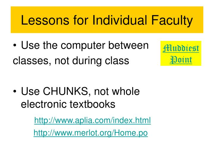 Lessons for individual faculty