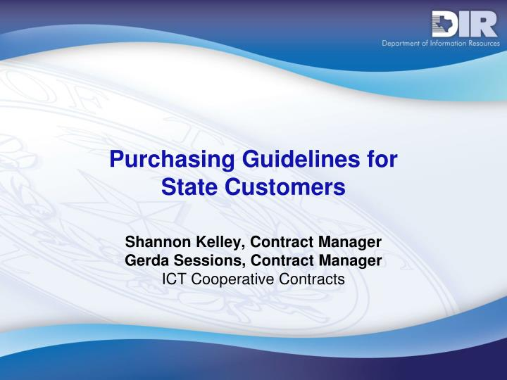 purchasing guidelines for state customers n.