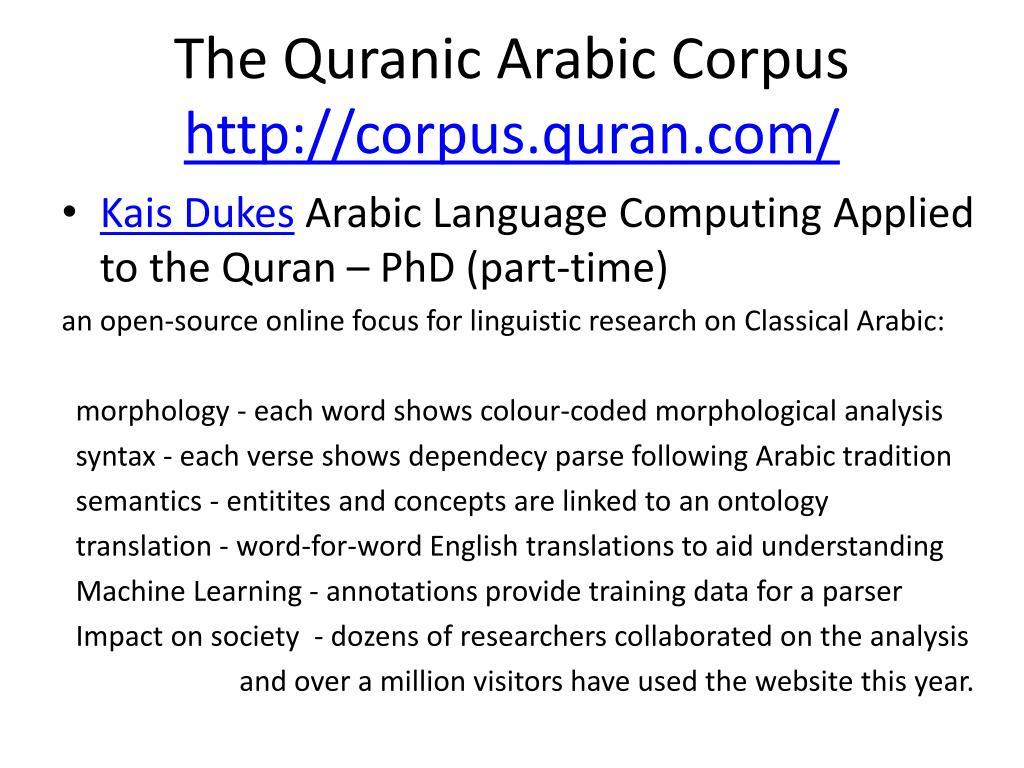 PPT - Corpus Linguistics for Understanding the Quran