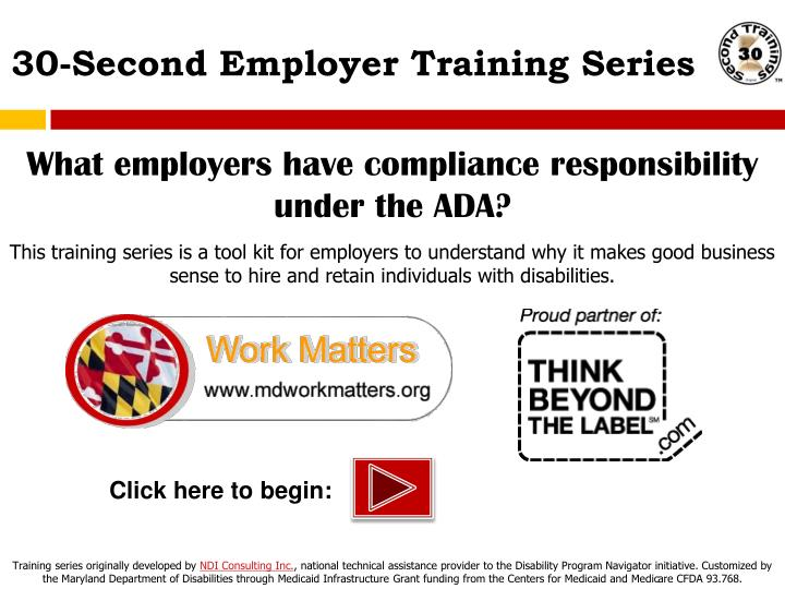 What employers have compliance responsibility under the ADA?