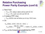 relative purchasing power parity example cont d