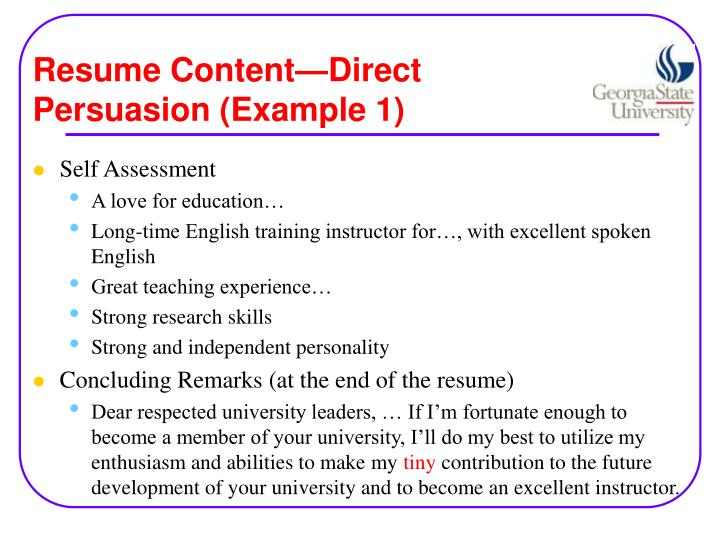 Resume content direct persuasion example 1
