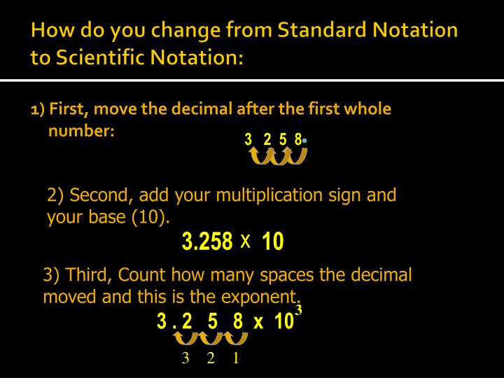 How do you change from Standard Notation to Scientific Notation: