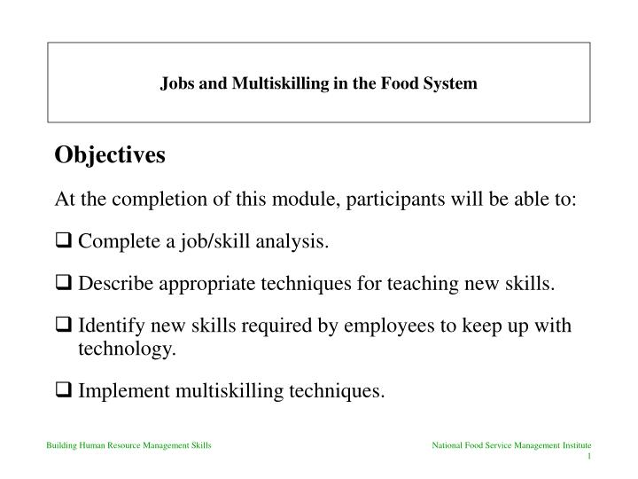 jobs and multiskilling in the food system n.