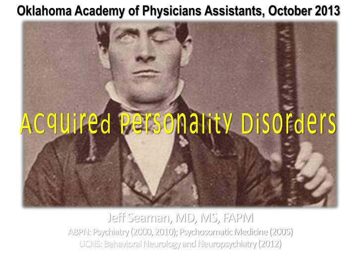 acquired personality disorders n.