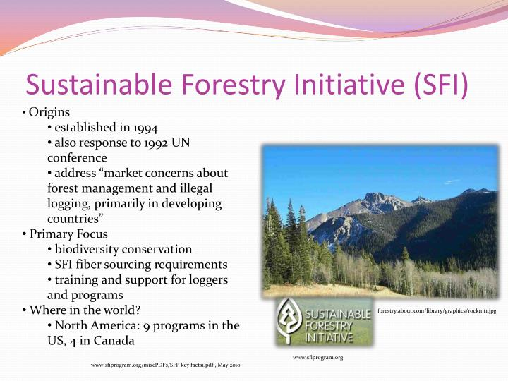 Sustainable forestry initiative sfi