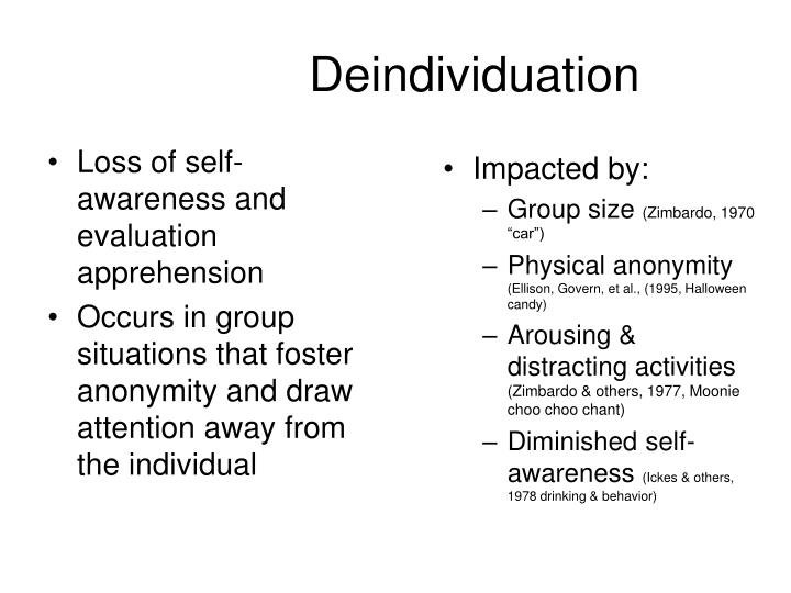 Loss of self-awareness and evaluation apprehension