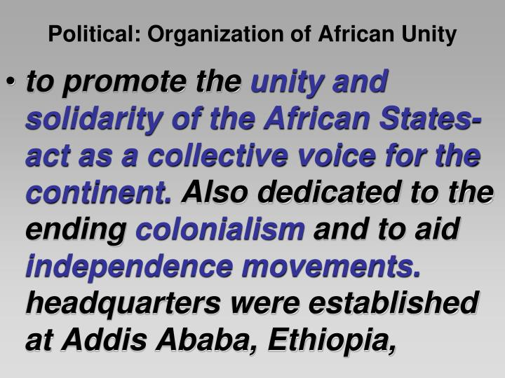 history and goals of the organization of african unity