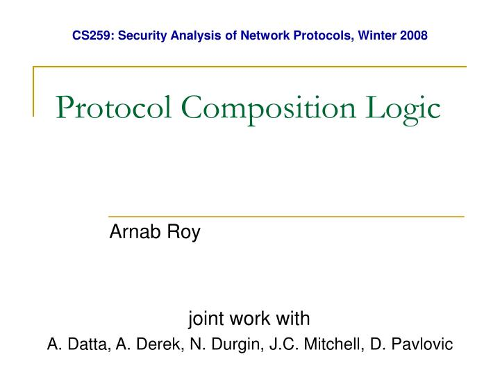 protocol composition logic n.