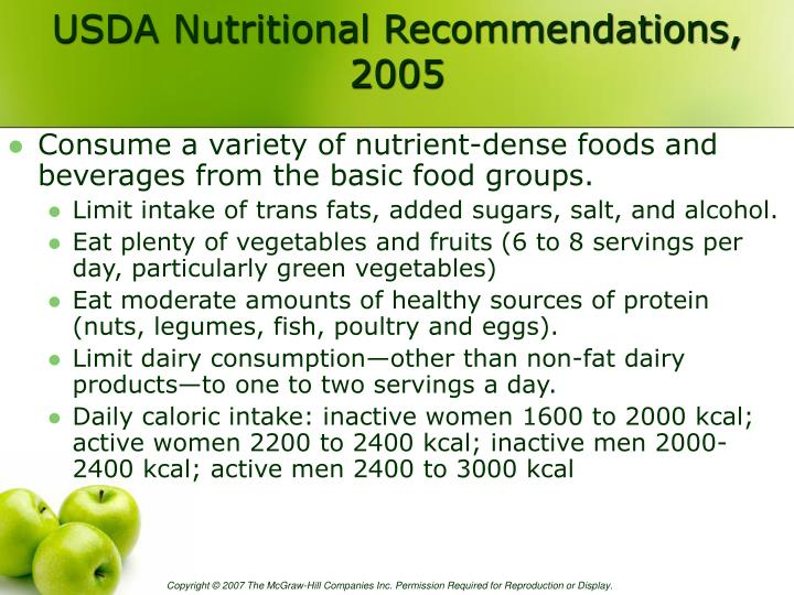 USDA Nutritional Recommendations, 2005