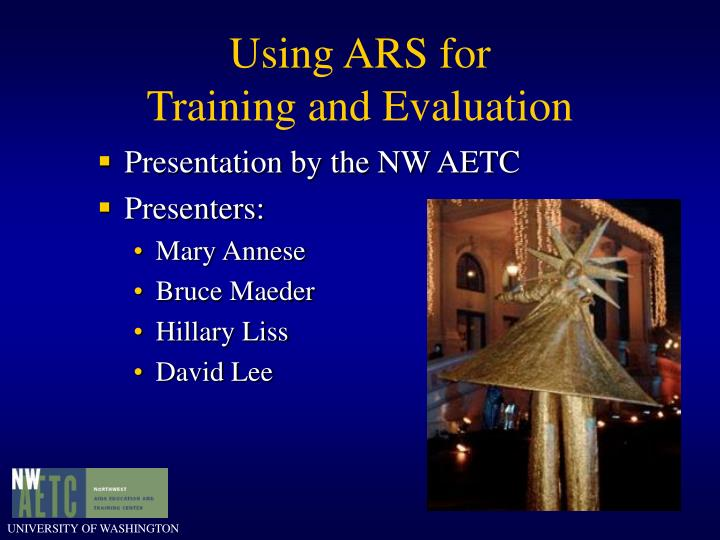 using ars for training and evaluation n.