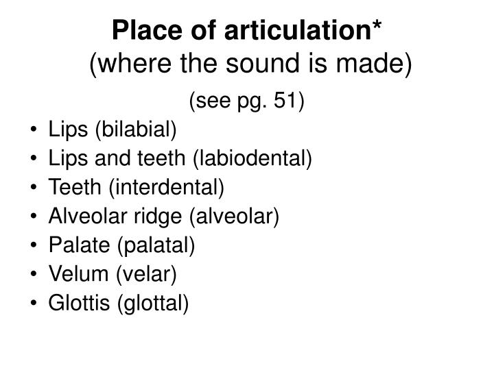 Place of articulation*