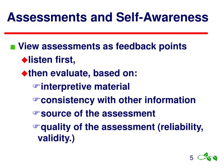 Assessments and Self-Awareness
