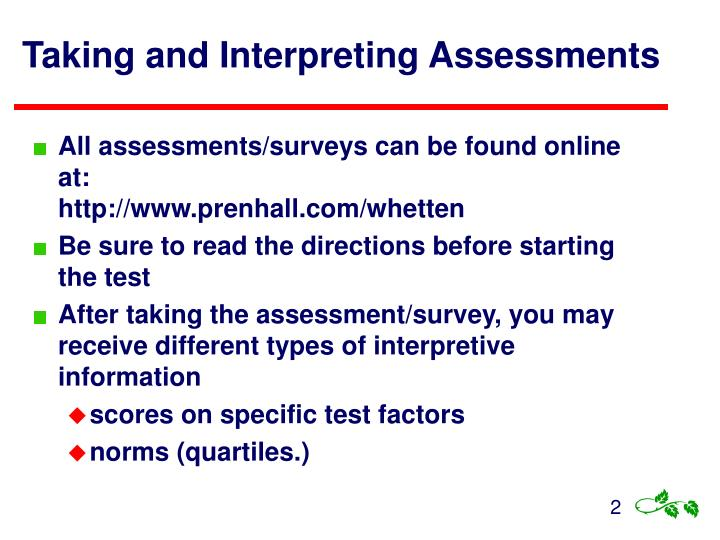 Taking and interpreting assessments