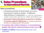 1 sales promotions in international markets
