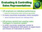 evaluating controlling sales representatives