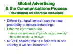 global advertising the communications process developing an effective message