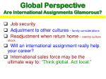 global perspective are international assignments glamorous