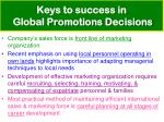keys to success in global promotions decisions