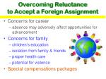 overcoming reluctance to accept a foreign assignment