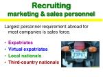 recruiting marketing sales personnel