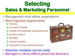 selecting sales marketing personnel
