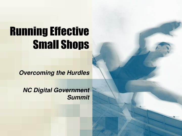 running effective small shops n.